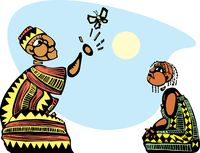 African storytelling cartoon